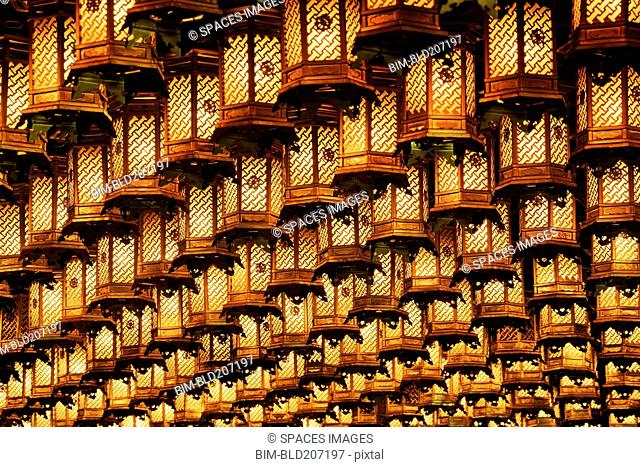 Illuminated hanging lanterns, Honshu island, Japan, Asia