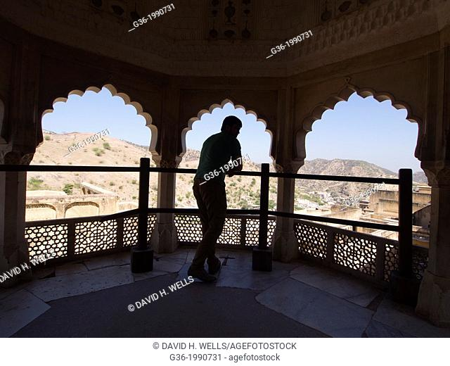 View from the balcony of historic structure in Jaipur, Rajasthan, India