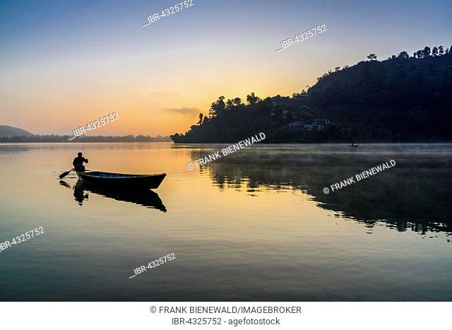 Man paddling a boat across Phewa Lake at sunrise, Pokhara in the distance, fog, Anadu Palpari, Kaski, Nepal
