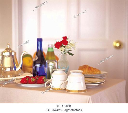 Breakfast tray in a hotel room