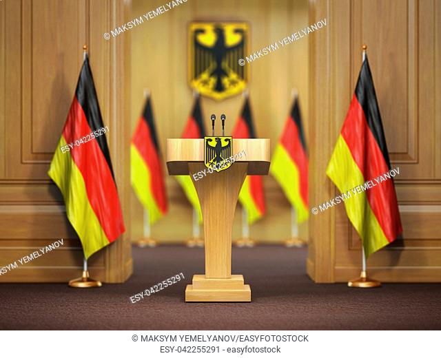 Press conference or briefing of premier minister of Germany concept,. Podium speaker tribune with Germany flags and coat arms. 3d illustration