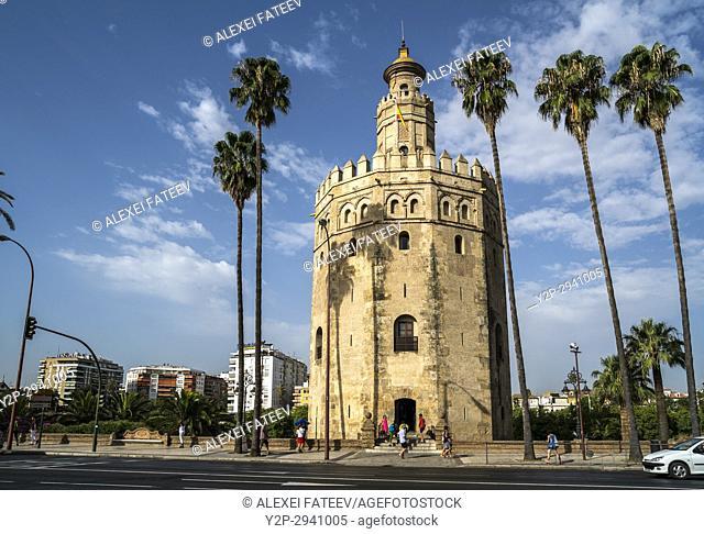 Golden Tower (Torre del Oro) in Seville, Spain