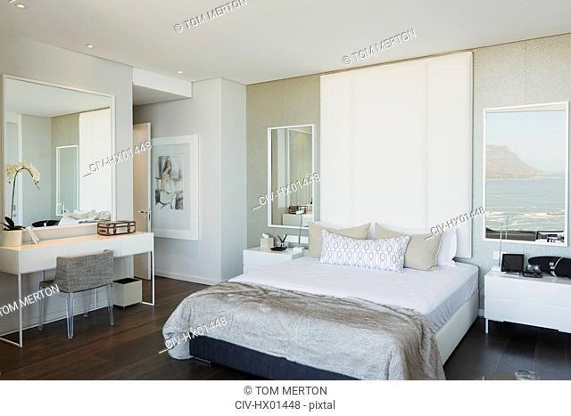 Modern white luxury home showcase bedroom