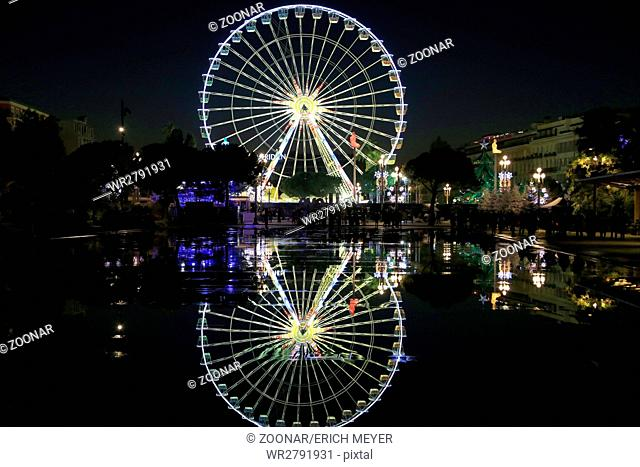 Nice, ferries wheel at Christmas time