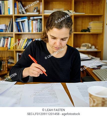 Portrait of woman working in office