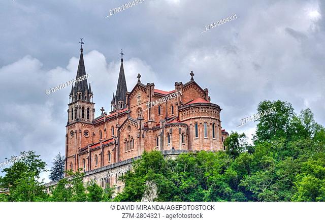 Basilica of Santa Maria la Real, Covadonga, Picos de Europa National Park, Asturias, Spain. Historical Heritage Site
