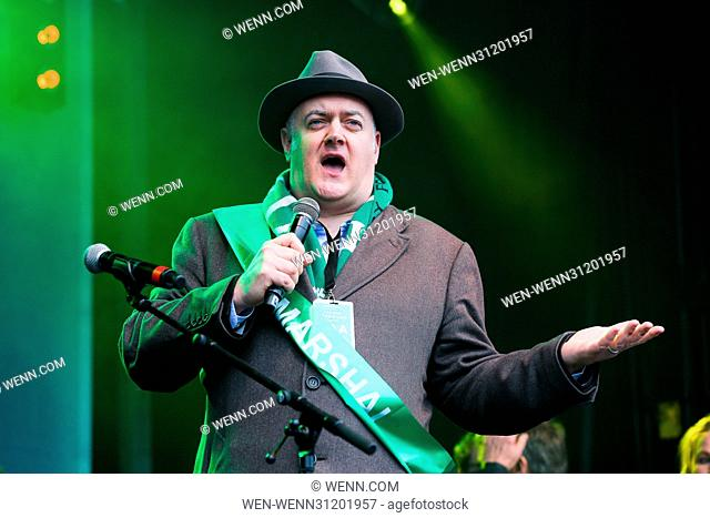 Hundreds of people attend St Patrick's Day celebrations in Trafalgar Square. Featuring: Dara O'Briain Where: London, United Kingdom When: 19 Mar 2017 Credit:...