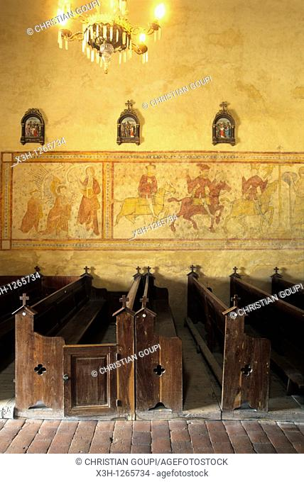 mural painting of 15th century in the church of Verneuil, Nievre department, region of Burgundy, center of France, Europe