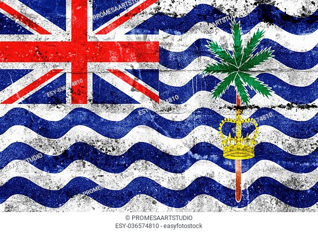 Flag of British Indian Ocean Territory, painted on dirty wall. Vintage and old look