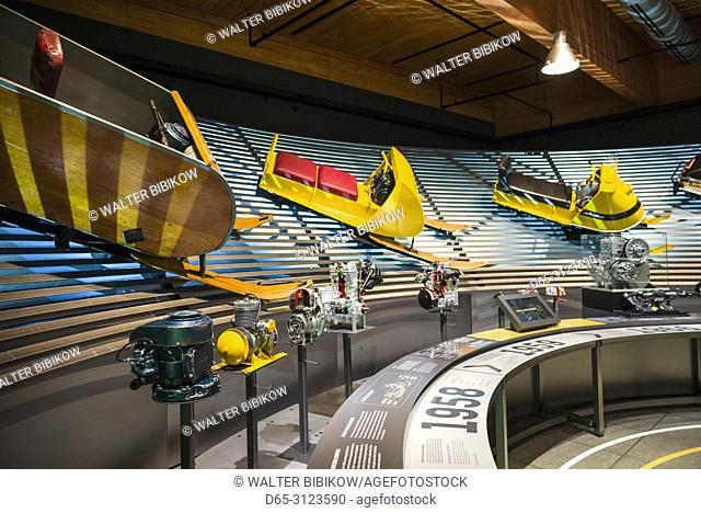 Canada, Quebec, Estrie Region, Valcourt, Musee J Armand Bombardier, museum dedicated to the inventor of the modern snowmobile, interior, early snowmobiles