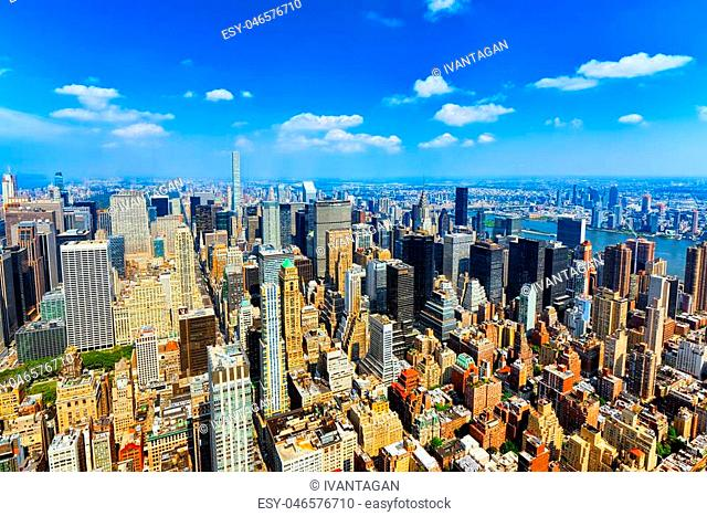 View of Manhattan from the skyscraper's observation deck. New York. USA