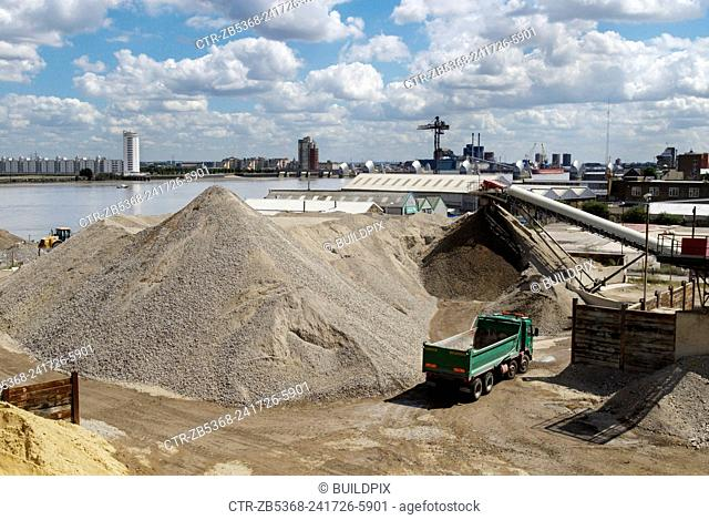 Aggregate recycling plant, Greenwich, South-East London, UK