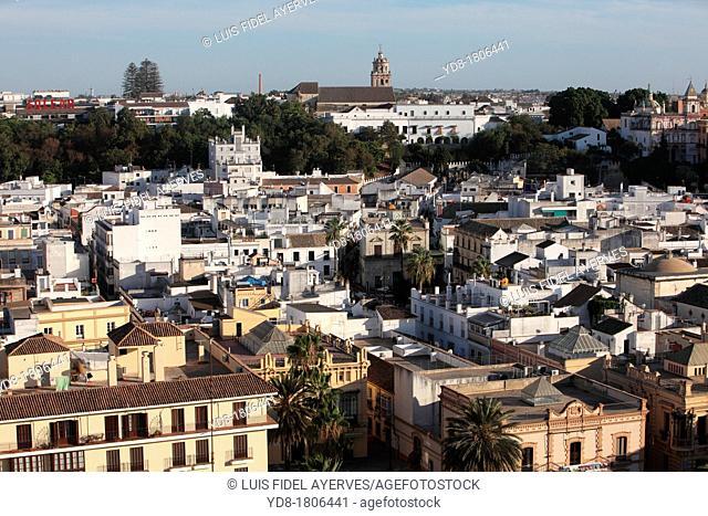 Panoramic view of Sanlucar de Barrameda from hotel Guadalquivir, Cadiz, Andalucia, Spain, Europe