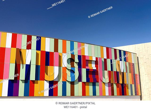 Colorful new front of the Waterloo Regional Museum in Kitchener Ontario Canada