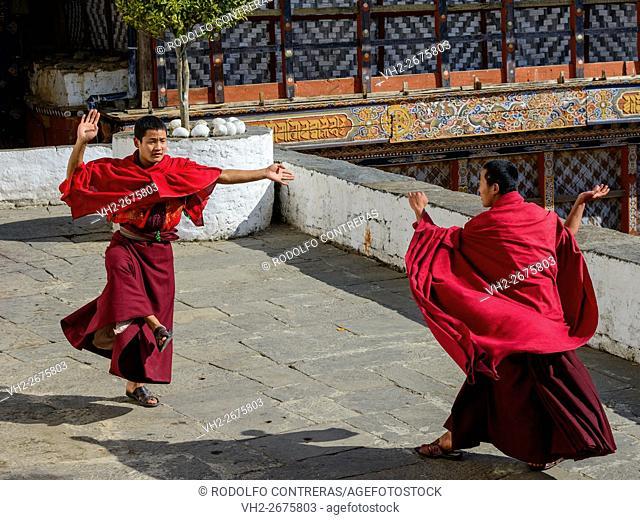 Monks dancing in the monastery, Bhutan