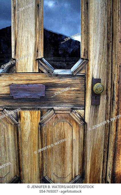 An old door in the re-created ghost town of Nevada City, Montana
