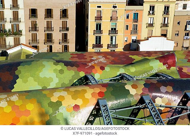 Barcelona: Roof of Santa Caterina market by Enric Miralles and Benedetta Tagliabue  In Francesc Cambó Avenue