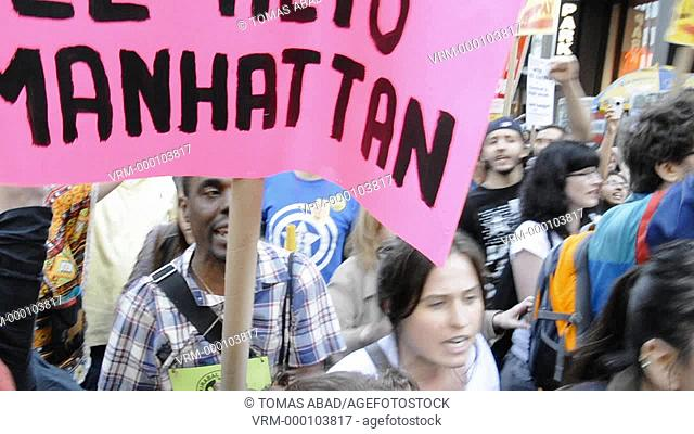 May 12, 2011, Financial District Wall Street vicinity, New York City, a protest against big banks, war, racial discrimination and in favor of more money for...