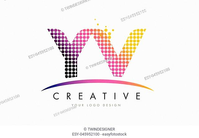 YV Y V Dots Letter Logo Design with Magenta Bubble Circles and Swoosh