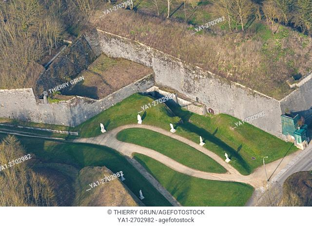 France, Meuse (55), Verdun town, citadel, battlements (aerial view)