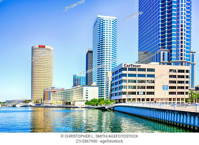 Buildings along the Tampa riverfront in Florida