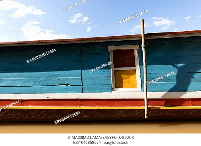 Coloured boat on Mekomg river in Laos