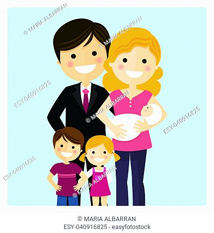 Family with two children and a newborn baby on blue background. Vector illustration