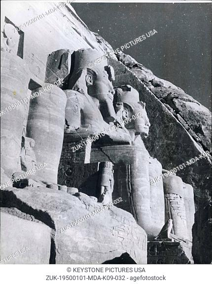 Jan 1, 1950 - The four seated Colossus of Ramesses II at the entrance of the famed Abu Simbel Temple about 14 miles south of Aswan and built for the worship of...