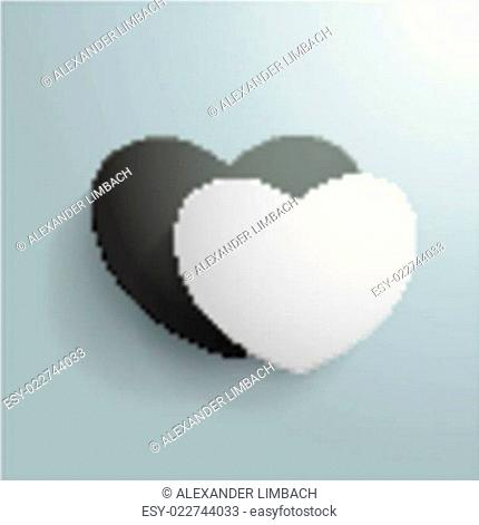 Double Heart White Black PiAd