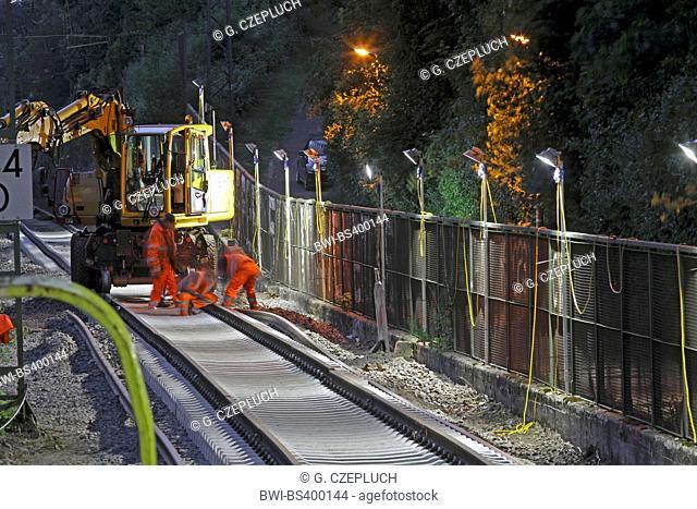 railroad work at night, Germany