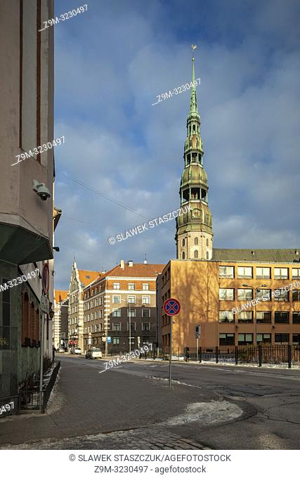 Winter day at St Peter's church in Riga old town, Latvia