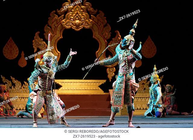 Thai classical dance performance at Salachalermkrung theater in Bangkok, Thailand. Khon-Thai Classical Masked Dance at the Sala Chalermkrung Royal Theatre