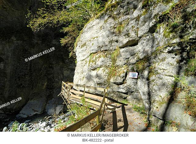 Footbridge in the Alploch canyon - Dornbirn, Vorarlberg, Austria, Europe