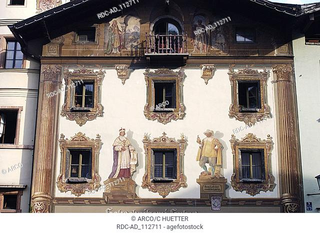 Wood carving Huber house front with paintings Berchtesgaden Bavaria Germany