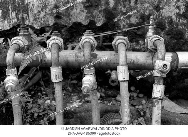 Water pipes with joints Darjeeling West Bengal India Asia 2011
