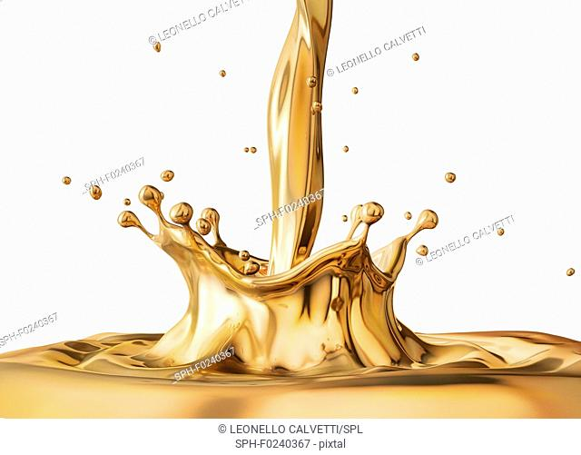 Liquid gold pouring with Crown splash and ripples. Side view. On white background