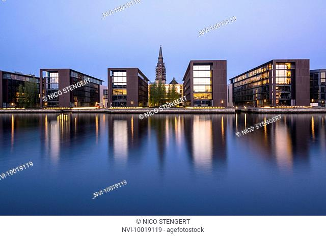 Nordea Bank headquarters with Christians Church in Christianshavn seen from Slotsholmen, designed by the architect Henning Larsen, Inderhavn, Copenhagen