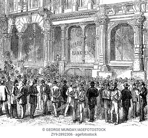 1879: Gamblers of stocks and shares at the junction of Montgomery and California Street hovering around stockbroker's bulletin boards, San Francisco, California