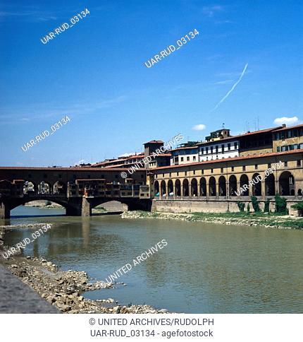 Der Ponte Vecchio von Florenz, Italien 1980er Jahre. The Ponte Vecchio of Florence; Italy 1980s