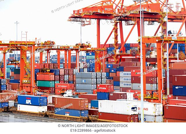 Canada, BC, Vancouver. Centerm container port in the harbour. Downtown Eastside