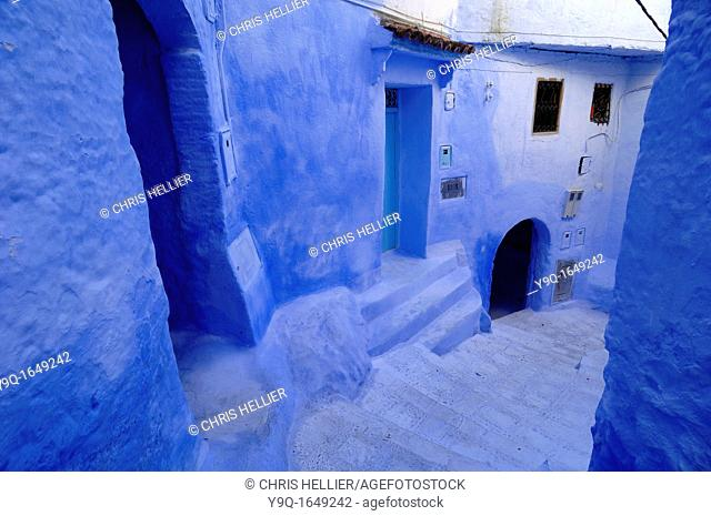 Blue Houses and Narrow Street or Alley Chefchaouen Morocco