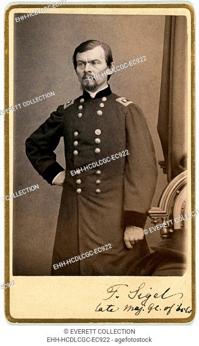 The Civil War. Major General Franz Sigel, carte de visite signed by Sigel, ca. 1862 - 1865. Mathhew Brady Studio