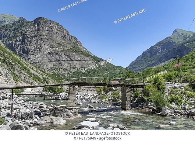 A bridge across the the Cem River at Dobrinje on the SH 20 road The most northerly road in Albania, just below the border with Montinegro. Albania