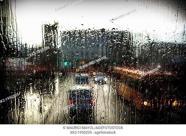 Rainy day near london Bridge, travelling by bus, London, UK