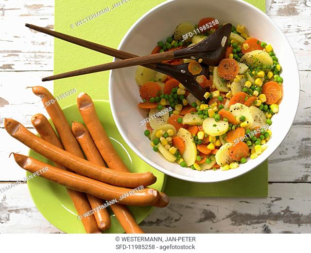 Potato salad with sausages