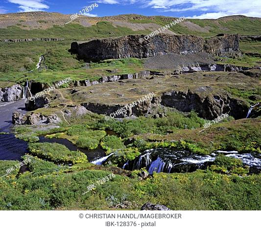 The river Joekulsa a Fjoellum at most narrow passage called Katlar, Joekulsarglufur National Park, Iceland