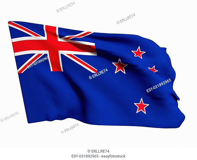 3d rendering of a New Zealand flag on a white background
