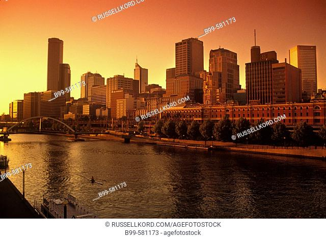 River Yarra, Downtown Skyline, Melbourne, Victoria, Australia