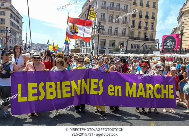 """Marseille, France, European Gay Pride """"""""Europride"""""""" International LGBT March in South of France"""
