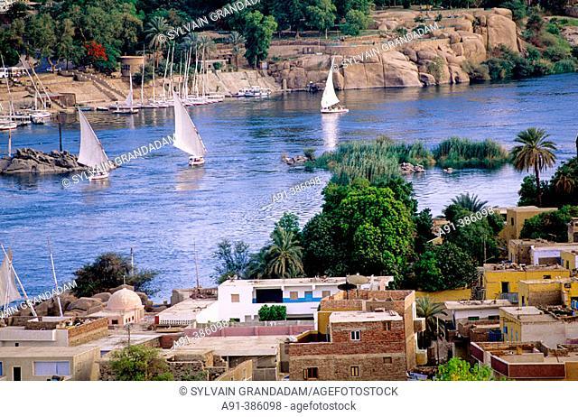 River Nile in Aswan. Nubia. Egypt